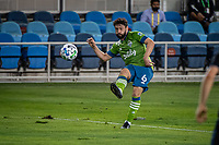 SAN JOSE, CA - OCTOBER 18: Joao Paulo #6 of the Seattle Sounders passes the ball during a game between Seattle Sounders FC and San Jose Earthquakes at Earthquakes Stadium on October 18, 2020 in San Jose, California.