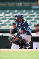 Tampa Bay Rays catcher Rafelin Lorenzo (89) during an Instructional League game against the Baltimore Orioles on September 19, 2016 at Ed Smith Stadium in Sarasota, Florida.  (Mike Janes/Four Seam Images)