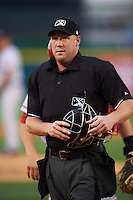 Umpire James Rackley during a game between the Louisville Bats and Buffalo Bisons on June 22, 2016 at Coca-Cola Field in Buffalo, New York.  Buffalo defeated Louisville 8-1.  (Mike Janes/Four Seam Images)