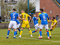 18th April 2021; Stair Park, Stranraer, Dumfries, Scotland; Scottish Cup Football, Stranraer versus Hibernian; Christian Doidge of Hibernian shoots and scores the opening goal for 0-1 in minute 37