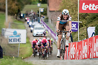 Oliver Naesen (BEL/AG2R-LaMondiale) up the Paterberg<br /> <br /> 104th Ronde van Vlaanderen 2020 (1.UWT)<br /> 1 day race from Antwerpen to Oudenaarde (BEL/243km) <br /> <br /> ©kramon