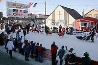 Wednesday March 14, 2007   ----   Norwegian Robert Sorlie arrives in the finish chute in Nome to take a 13th place finish.