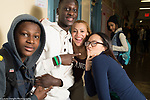 Education High School group of friends posing in corridor