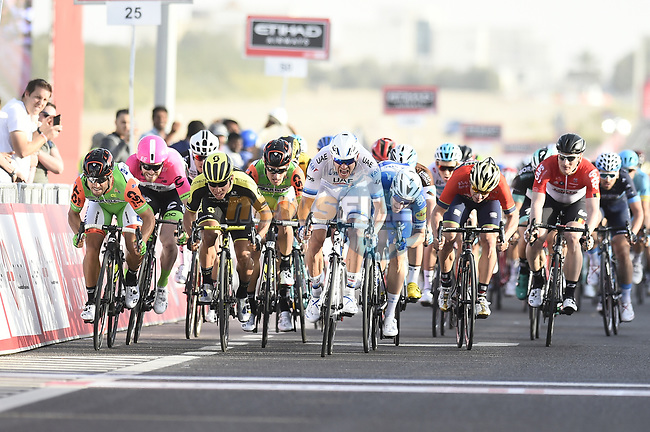 European Champion Alexander Kristoff (NOR) UAE Team Emirates wins Stage 1 of the 2018 Abu Dhabi Tour, Al Fahim Stage running 189km from Madinat Zayed to Adnoc School, Abu Dhabi, United Arab Emirates. 21st February 2018.<br /> Picture: LaPresse/Fabio Ferrari | Cyclefile<br /> <br /> <br /> All photos usage must carry mandatory copyright credit (© Cyclefile | LaPresse/Fabio Ferrari)