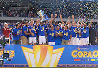 Chicago, IL - Sunday July 28, 2013:   The USMNT celebrates with the CONCACAF Gold Cup Trophy after defeating Panama by the score of 1-0 during the CONCACAF Gold Cup Finals soccer match between the USMNT and Panama, at Soldier Field in Chicago, IL.