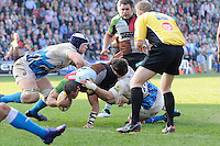 Maurie Fa'asavalu of Harlequins dives over to score the winning try  during the Aviva Premiership match between Harlequins and Bath Rugby at The Twickenham Stoop on Saturday 24th March 2012 (Photo by Rob Munro)