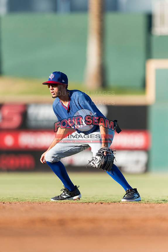 AZL Rangers second baseman Jayce Easley (71) during an Arizona League playoff game against the AZL Indians 1 at Goodyear Ballpark on August 28, 2018 in Goodyear, Arizona. The AZL Rangers defeated the AZL Indians 1 7-4. (Zachary Lucy/Four Seam Images)