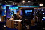 NY1 anchor Pat Kiernan works on set on April 20, 2012 in New York City.  (Photo by Michael Nagle)