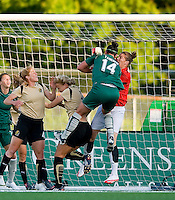 St Louis Athletica forward Melissa Tancredi (14) collides with FC Gold Pride goalkeeper Nicole Barnhart (1) during a WPS match at Korte Stadium, in st. Louis, MO, May 9 2009.