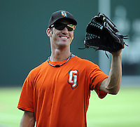 Outfielder Nick Liles (10) of the Augusta GreenJackets, Class A affiliate of the San Francisco Giants, in a game against the Greenville Drive on June 7, 2010, at Fluor Field at the West End in Greenville, S.C. Photo by: Tom Priddy/Four Seam Images
