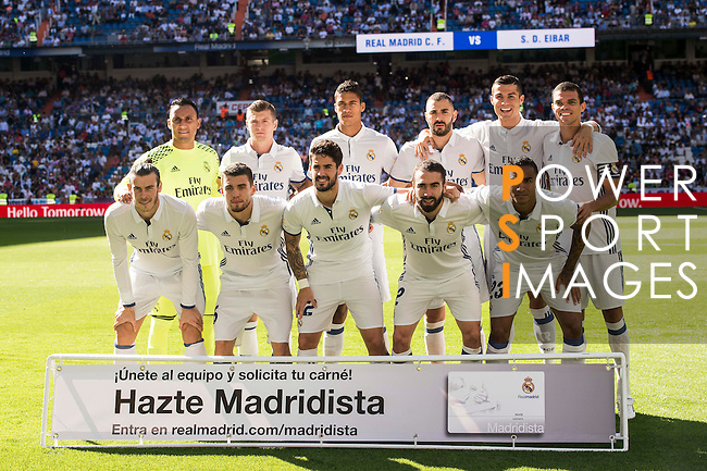 Players of Real Madrid pose for photos during their La Liga match between Real Madrid CF and SD Eibar at the Santiago Bernabéu Stadium on 02 October 2016 in Madrid, Spain. Photo by Diego Gonzalez Souto / Power Sport Images
