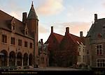 Gruuthuse Museum Courtyard at Dawn, Bruges, Brugge, Belgium