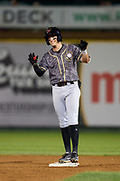 Quad Cities River Bandits Nick Loftin (2) calls for time after hitting a double during a game against the South Bend Cubs on August 20, 2021 at Four Winds Field in South Bend, Indiana.  (Mike Janes/Four Seam Images)