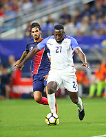 ARLINGTON, TEXAS - Saturday July 22, 2017: Jozy Altidore #27 of USMNT moves the ball down field against the Costa Rica National Team in the second half of the match at AT&T Stadium.