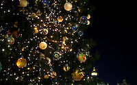 The Christmas tree is pictured after the illumination ceremony in Saint Peter square at the Vatican, on December 9, 2016. <br /> UPDATE IMAGES PRESS/Isabella Bonotto<br /> <br /> STRICTLY ONLY FOR EDITORIAL USE