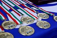 Medaglie prima classificata <br /> Padova 09/06/2021 Centro Sportivo Plebiscito <br /> Campionato Italiano Serie A Pallanuoto Donne <br /> Gara 5 <br /> Plebiscito Padova - Ekipe Orizzonte Catania <br /> Photo Emanuele Pennacchio / Deepbluemedia / Insidefoto