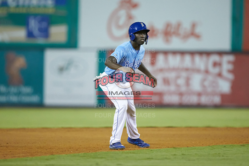 David Hollie (23) of the Burlington Royals takes his lead off of second base against the Johnson City Cardinals at Burlington Athletic Stadium on September 3, 2019 in Burlington, North Carolina. The Cardinals defeated the Royals 7-2 to even Appalachian League Championship series at one game a piece. (Brian Westerholt/Four Seam Images)