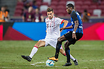 FC Internazionale Midfielder Geoffrey Kondogbia (R) fights for the ball with Bayern Munich Forward Milos Pantovic (L) during the International Champions Cup match between FC Bayern and FC Internazionale at National Stadium on July 27, 2017 in Singapore. Photo by Marcio Rodrigo Machado / Power Sport Images