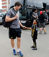 Photo: Richard Lane/Richard Lane Photography. Tigers v Wasps. Gallagher Premiership. 02/03/2019. Wasps' Charlie Matthews shakes hands with a young supporter.