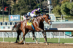 ARCADIA, CA JANUARY 30: #4 Express Train, ridden by Juan Hernandez, passes #1 Tizamagician, ridden by Drayden Van Dyke, in the stretch of the San Pasqual Stakes (Grade ll) on January 30, 2021 at Santa Anita Park in Arcadia, CA  (Photo by Casey Phillips/EclipseSportswire/CSM)