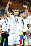 Real Madrid's Carlos Henrique Casemiro celebrates the victory in the UEFA Champions League 2015/2016 Final match.May 28,2016. (ALTERPHOTOS/Acero)