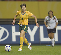 Australia forward (9) Sarah Walsh. Norway tied Australia 1-1 in their FIFA Women's World Cup China 2007 Group C opening round match at Hangzhou Dragon Stadium in Hangzhou, China on September 15, 2007.