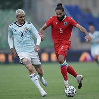 6th June 2021, Stade Josy Barthel, Luxemburg; International football friendly Luxemburg versus Scotland;  Lyndon Dykes Scotland challanges Vahid Selimovic Luxembourg