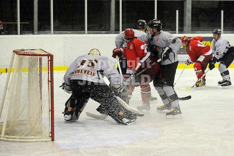 ijshockey grzzlies - amstel tigers seizoen 2008-2009 20-12-2008  gevaar voor amstel tigers doel met reinier holthof.fotograaf jan kanning