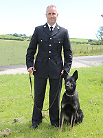"""Pictured: Max, the German shepherd police dog with handler PC Peter Lloyd<br /> Re: Max, a newly-licensed Dyfed-Powys Police dog discovered a missing mother and toddler on the edge of a ravine in a remote part of Powys, on his first operational shift on Saturday, 1st August 2020<br /> The mother and her one-year-old had not been seen for two days and had spent the night outdoors.<br /> The two-year-old German Shepherd cross who joined the force in February, led its handler PC Peter Lloyd who spotted the woman waving for help at 1:30pm.<br /> They were helped down and checked over by a mountain rescue doctor and the ambulance service.<br /> Insp Jonathan Rees-Jones said: """"The woman had not been seen or spoken to for two days, which was out of character, and her phone wasn't working, so naturally concern for her safety was high.""""<br /> He said the woman's car had been found on a mountain road which gave officers a location to search from, but there was still """"a vast area to cover given the amount of time she had been missing""""."""