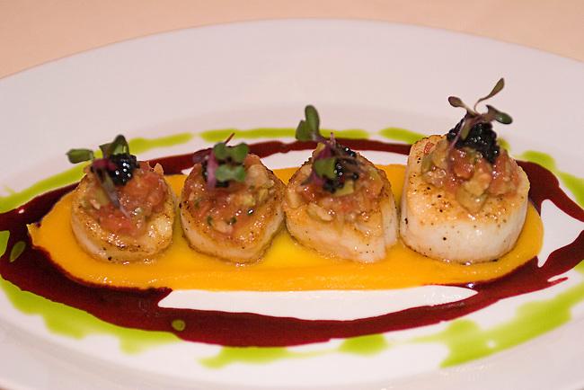 Gramercy, Urena Restaurant, Roasted Scallops with Butternut Squash Puree, Amanita Olive and Tomato Salpicon, Rioja-red Beet Sauce, Avruga Caviar