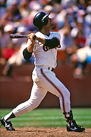 SAN FRANCISCO, CA - Mike Aldrete of the San Francisco Giants bats during a game at Candlestick Park in San Francisco, California in 1987. (Photo by Brad Mangin)