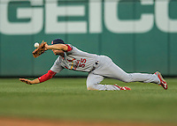 28 May 2016: St. Louis Cardinals outfielder Stephen Piscotty is unable to get to a Daniel Murphy hit in the second inning  action against the Washington Nationals at Nationals Park in Washington, DC. The Cardinals defeated the Nationals 9-4 to take a 2-games to 1 lead in their 4-game series. Mandatory Credit: Ed Wolfstein Photo *** RAW (NEF) Image File Available ***