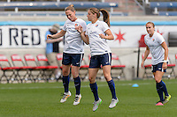Bridgeview, IL, USA - Sunday, May 29, 2016:  Sky Blue FC defender Christie Rampone (3) and Sky Blue FC defender Erica Skroski (8) before a regular season National Women's Soccer League match between the Chicago Red Stars and Sky Blue FC at Toyota Park. The game ended in a 1-1 tie.