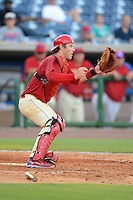 Clearwater Threshers catcher Logan Moore (5) during a game against the Jupiter Hammerheads July 21, 2013 at Bright House Field in Clearwater, Florida.  Jupiter defeated Clearwater 1-0.  (Mike Janes/Four Seam Images)