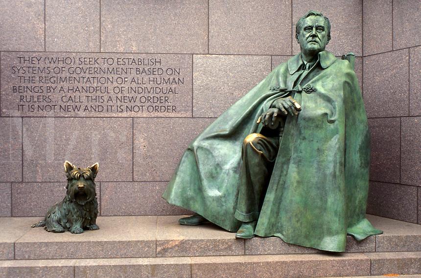 Franklin D. Roosevelt Memorial, Washington, DC, District of Columbia, Franklin Delano Roosevelt Memorial, statue of FDR and his dog, Fala.