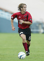26 June 2004:   Dallas Burn Philip Salyer in action against DC United at Cotton Bowl in Dallas, Texas.   DC United and Dallas Burn are tied 1-1 after the game.   Credit: Michael Pimentel / ISI