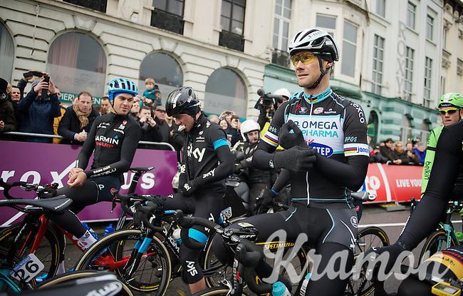 absolute favorite Tom Boonen (BEL) at the start<br /> <br /> Omloop Het Nieuwsblad 2014