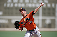 Baltimore Orioles pitcher Drew Rom (91) delivers a pitch during a Florida Instructional League game against the Boston Red Sox on September 21, 2018 at JetBlue Park in Fort Myers, Florida.  (Mike Janes/Four Seam Images)