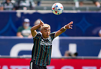 CARSON, CA - APRIL 25: Julian Araujo #2 of the Los Angeles Galaxy with a throw in during a game between New York Red Bulls and Los Angeles Galaxy at Dignity Health Sports Park on April 25, 2021 in Carson, California.