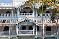 Zanzibar, Tanzania.  The Old Dispensary, or Ithnasheri Dispensary.  Originally built in the 1890s, renovated 1995.  Now houses Stone Town Cultural centre.  The decorative balconies are representative of a south-Asian style of architecture.
