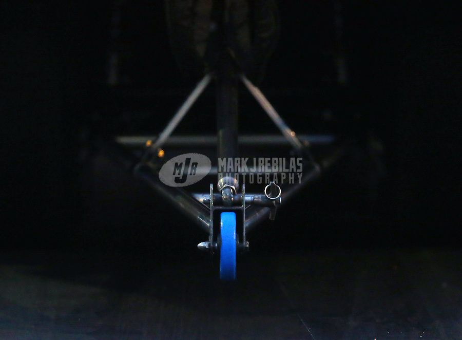 Jan 14, 2015; Jupiter, FL, USA; Detailed view of the wheelie bar on the NHRA pro mod car of Eric Dillard during preseason testing at Palm Beach International Raceway. Mandatory Credit: Mark J. Rebilas-USA TODAY Sports