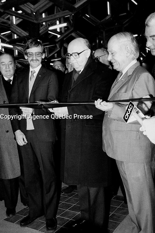 January 9, 1984 File Photo - - Michel Clair, Minister of Transports, Quebec,<br />  (L),<br />  Jean Drapeau, Montreal Mayor (M) and Rene Levesque, Quebec Premier (R) attend the inauguration of the 3 new metro (subway) station : <br /> Namur, De La Savane and Du College.