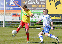 KFC Lichtervelde - KVC Ardooie : Mathias Vackier (links) aan de bal voor Thibault Tanghe (rechts) <br /> Foto VDB / Bart Vandenbroucke
