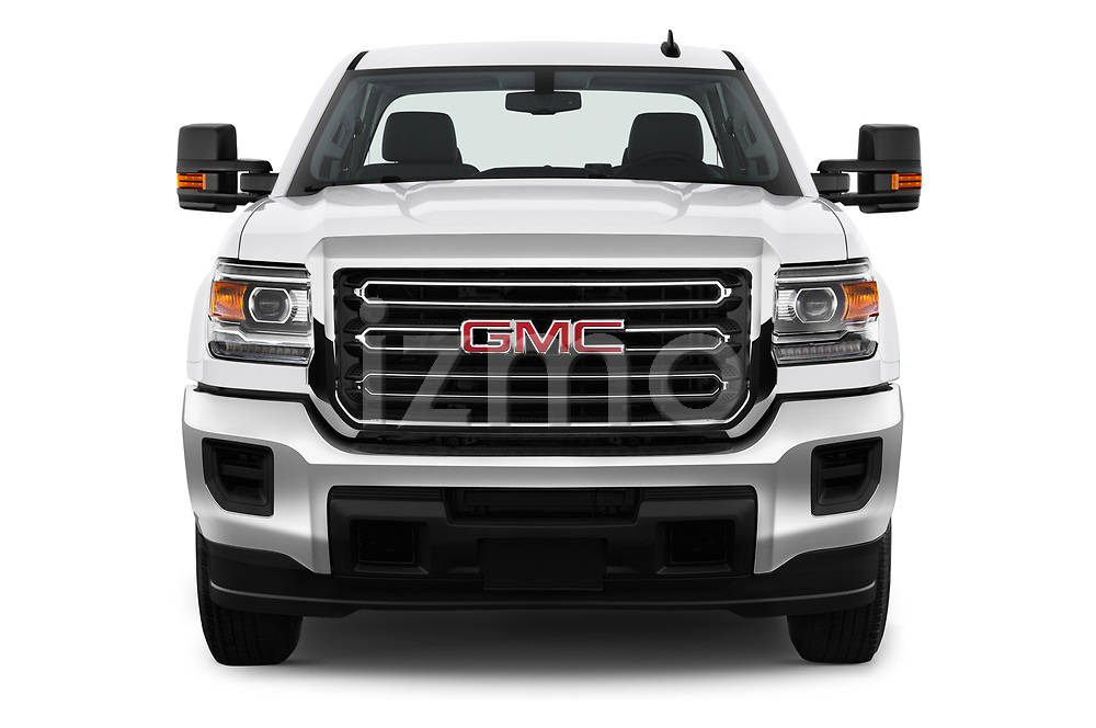 Car photography straight front view of a 2018 GMC Sierra 3500HD Double 4WD Cab Long Box 4 Door Pick Up