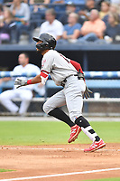 Hickory Crawdads Jonathan Ornelas (3) runs to first base during a game against the Asheville Tourists on July 20, 2021 at McCormick Field in Asheville, NC. (Tony Farlow/Four Seam Images)