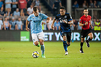 Kansas City, KS - Wednesday August 9, 2017: Diego Rubio, Darwin Ceren during a Lamar Hunt U.S. Open Cup Semifinal match between Sporting Kansas City and the San Jose Earthquakes at Children's Mercy Park.