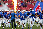 Southern Methodist Mustangs quarterback Garrett Gilbert (11) in action during the game between the Tulsa Golden Hurricanes and the SMU Mustangs at the Gerald J. Ford Stadium in Fort Worth, Texas.