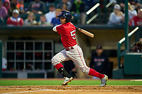 Worcester Red Sox Jeremy Rivera (53) hits a single during a game against the Rochester Red Wings on September 3, 2021 at Frontier Field in Rochester, New York.  (Mike Janes/Four Seam Images)
