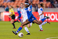 HOUSTON, TX - JANUARY 31: Kethna Louis #20 of Haiti crosses the ball during a game between Haiti and Costa Rica at BBVA Stadium on January 31, 2020 in Houston, Texas.