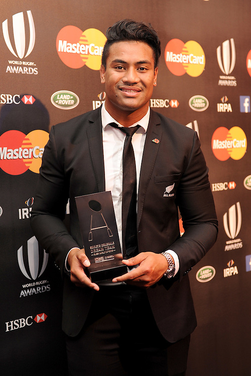 Julian Savea of New Zealand, winner of the Try of the Year Award, at the World Rugby Awards 2015  - 01/11/2015 - Battersea Evolution, London<br /> Mandatory Credit: Rob Munro/Stewart Communications